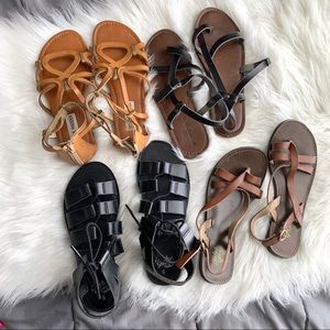 4 pairs of strappy/gladiator type sandals